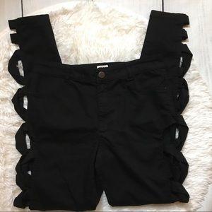 ASOS Denim Black Lace Up Side Stretchy Skinny Jean